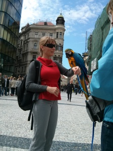 Parrots at Wenceslas Square with Mrs. Tallman.