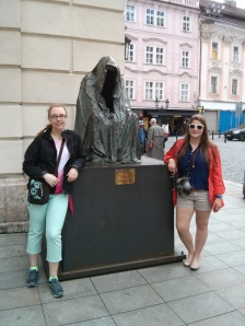 Mary and Ruth by the Don Giovanni statue outside the theater where it was premiered.