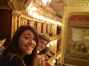 Rowan and Sara stoked for an epic operatic performance.