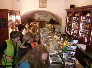 Chocolate shopping in Cesky Krumlov.