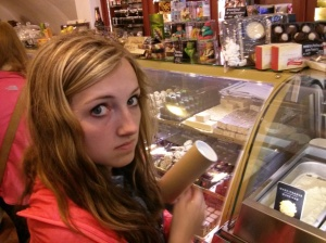 Maddie is looking for some chocolate in Cesky Krumlov.