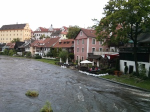 Flooded restaurants in Cesky Krumlov.