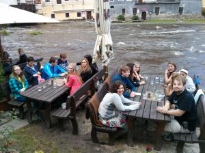 Dinner by flooded Vltava River in Cesky Krumlov.