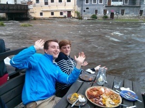 Evan and Rowan by the flood waters in Cesky Krumlov.